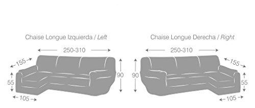 Eysa Ulises copridivano con penisola Elastico Sinistra, Vista Frontale, Poliestere-Cotone, Grigio, 43x14x37 cm