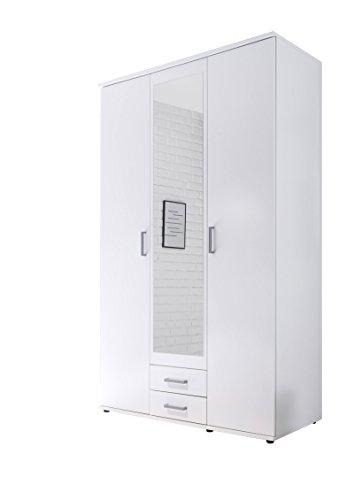 Avanti trendstore - kalle - armadio ad ante a battente con specchio nel centro e con 2 cassetti in legno laminato, disponibile in 2 colori diversi, dimensioni: lap 120x195x55 cm (bianco)