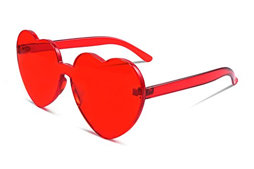 FEISEDY Heart Shaped Love Sonnenbrille randlose einteilige stilvolle transparente Linse B2419