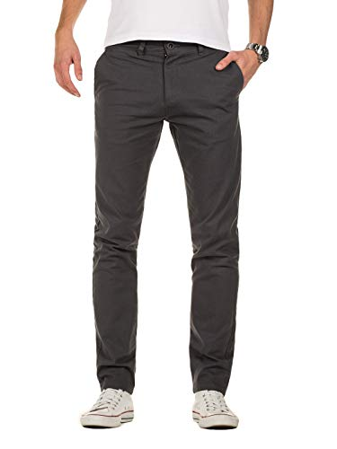 Yazubi Herren Chino Hose - Modell Kyle Slim fit - Chinohose Casual mit Stretch, Grau (Iron Gate 193910), W40/L36