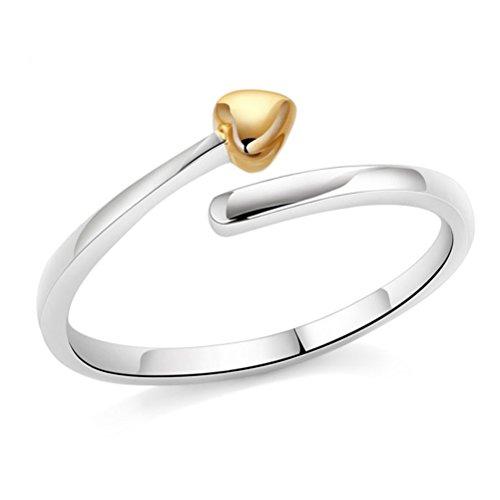 Delicado ZLYC para mujer de plata de ley de corazón abierto tunantería tonos dos anillo de corazones regalo