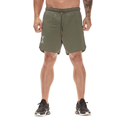 GreatestPAK Herren Fitness Kausal Slim Fit Sport Einfarbig Shorts Jeans Sommersport-Hosen,Armeegrün,EU:M(Tag:XL)