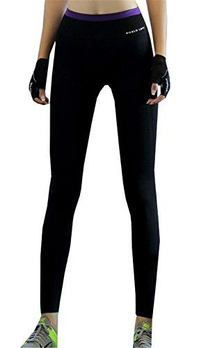 DaBag Donna Pantaloncini Stretti Fitness Push up Yoga Leggings Pantaloni Elasticizzati Correre Jog Culotte Lunghi Cotone Sport Palestra Athletic Vita Alta viola-2