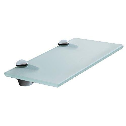 Melko Glasablage, Glasregal ideal für Bad, Dusche und zur modernen Dekoration mit Halterung aus Edelstahl 40 x 10 x 0,8 cm, Milchglas -