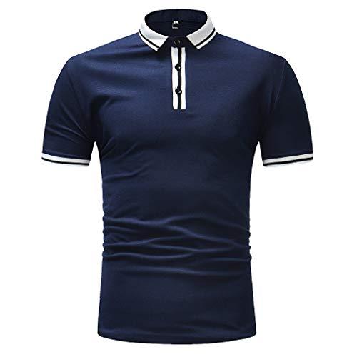Frashing Herren Poloshirt Einfarbig Basic Kurzarm Polohemd Frühling Sommer Freizeithemd Stretch Slim Tee Sweatshirt Herren Poloshirt Top -