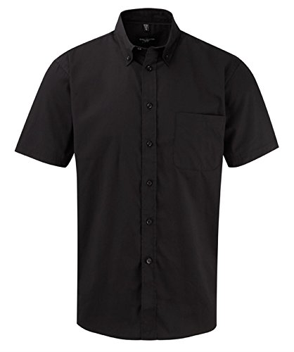Russell Collection, camicia a maniche corte, in twill, stile classico Black