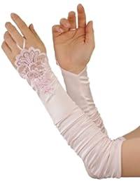 Superbes gants en satin sans doigt décorés de fausses perles. Parfaits pour les gandes occasions. Produit offert par NYfashion101