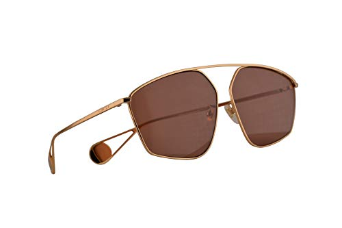 Gucci GG0437SA Sonnenbrille Gold Mit Roten Gläsern 60mm 001 GG0437/SA 0437/SA GG 0437SA