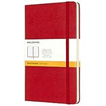 Moleskine Carnet ligné Grand format Couverture rigide rouge 13 x 21 cm