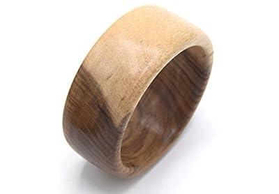 WOODISLAND - Bracelet large en bois de noyer Corse,bois biologique tourné à la main produit artisanal,bracelet en bois forme ronde,cadeau fêtes des mères