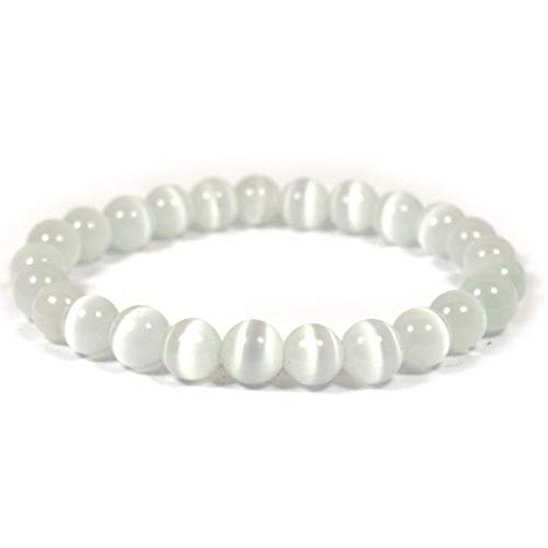 40108ad5a179 Reiki Crystal Products Natural Selenite Bracelet 8mm for Reiki Healing and  Vastu Correction Protection Concentration Spirituality