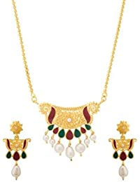 Voylla Traditional Alloy With Yellow Gold Plated Pearl Beads Necklace Sets For Women