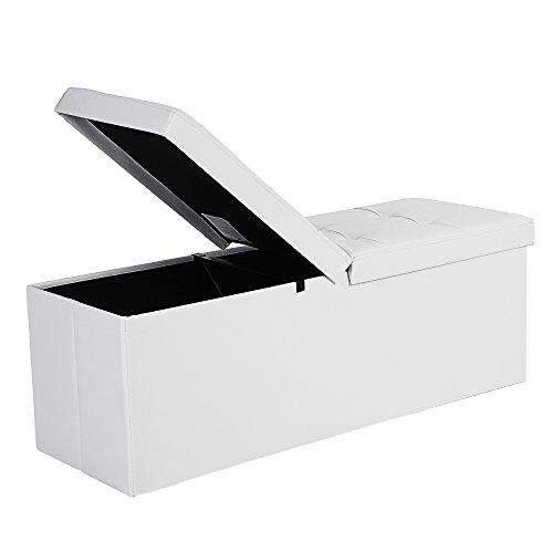 #SONGMICS Faltbarer Sitzhocker, Sitzbank mit 120 L Stauraum, bis 300 kg belastbar, Kunstleder, LSF75WT, PVC Bezug, Schaumstoff, MDF-Platte, Eisenrahmen Weiß 110 x 38 x 38 cm (B x H x T)#