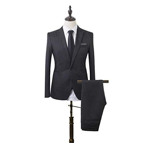 SWISSWELL Herren 2-Teilig Slim Fit Anzug Sakko+Hose Set Blazer Jacke EIN-Knopf Casual 2018 Collection Männer Freizeit Anzugssakko+Hose Schwarz EU-M