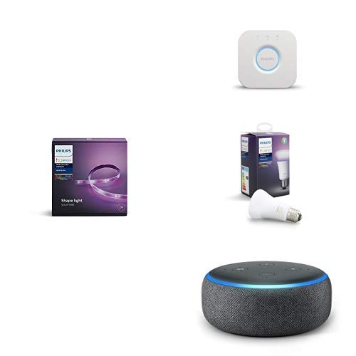 Echo Dot tessuto antracite + Philips Lighting Lighting Base LightStrip Plus Striscia LED, Bianco, 2 m + Philips Hue Bridge 2.0 Controllo del Sistema Hue, Compatibile con Google Assistant + Philips Hue White and Color Ambiance Lampadina LED, E27, 9.5 W, Controllabile via App
