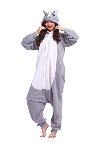 YUWELL Unisex Cartoon Pajamas Animal Anime Cosplay Costumes Hoodie Onesie Kigurumi Sleepwear Halloween, Graues Nashorn XL (Height:180-190cm)
