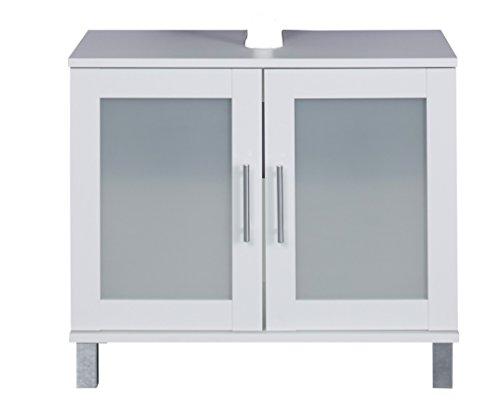 #trendteam FLO30101 Waschbeckenunterschrank Weiß Melamin, Glas Satiniert, BxHxT 65x56x33 cm#