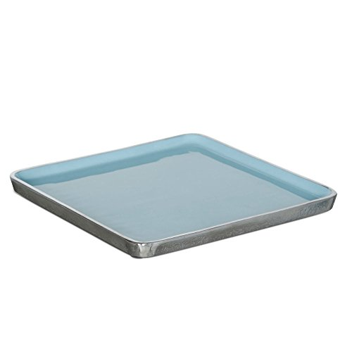 Tablett Kunststoff Metall quadratisch Tablett Kunststoff blau Aluminium Silber 35x35cm - Tracy (Kunststoff-silber Tablett)