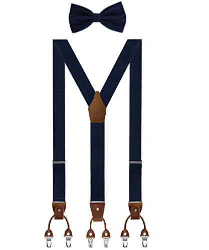 Aissy Herren Hosenträger mit Fliege Set 3 WAY TO WEAR Neue Version 3.5cm Y-Form Elastisch und Längenverstellbar Hosenträger für Herren und Damen 3 WAY Blau