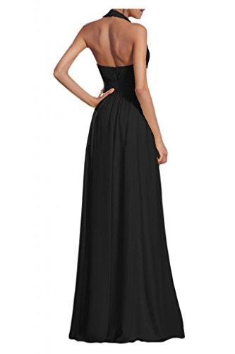 Gorgeous Bride Modisch V-Ausschnitt Neckholder Empire Chiffon Lang Abendkleid Ballkleid Brautjungfernkleid Schwarz