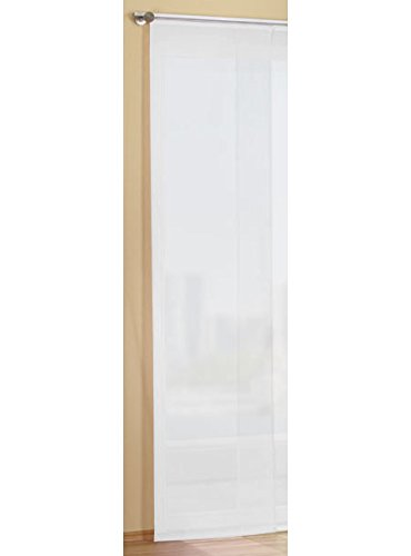 Gardinenbox Flächenvorhang Schiebegardine Voile Uni transparent mit Paneelwagen und Beschwerungsstange, Polyester, Weiß, 245 x 45 cm