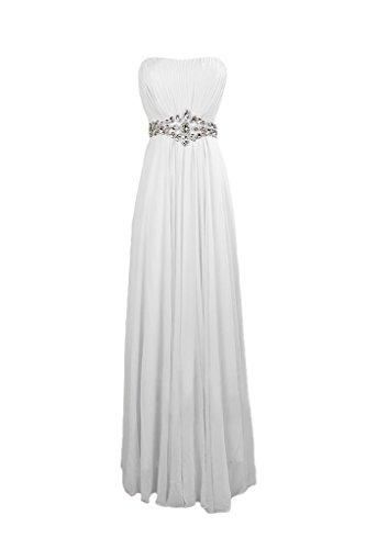 Sunvary elegante Chiffon A-line lega, per abiti da sera o da cerimonia, con diamanti Bianco