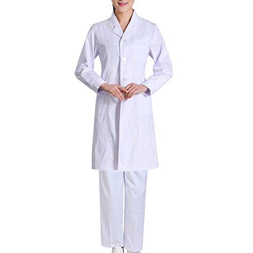 lala Pink Weiß Lab Coat Set für Männer und Frauen Professional Unisex Lab Coat mit Taschen [Langarm Top + lange Hosen] für ()