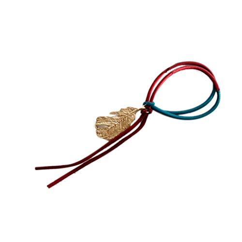 F-blue Frauen-Mädchen-Metallic-Feder-Anhänger-Haar-Band-Blatt-Troddel-Haar-Seil-Bindung Ring (Romantische Kostüme Kollektion)