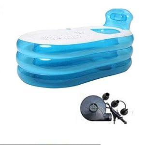 TINGTINGDIAN Piscina Gonfiabile Pieghevole Portatile Ambientale del PVC della Vasca Gonfiabile Adulta per la Piscina dei Bambini della Stazione TERMALE del Bagno Blu (Dimensioni : 130 * 70 * 45CM)