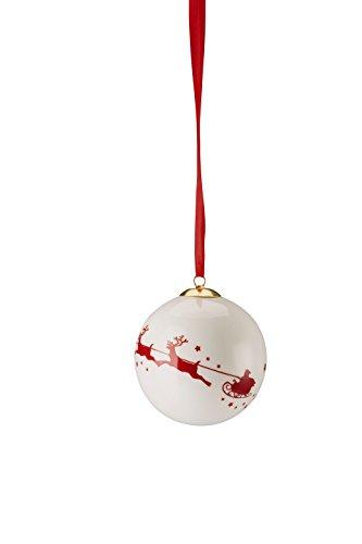 Hutschenreuther Merry Christmas Nordic Red Grande Boule en Porcelaine Luge/Ø 8 cm, Porcelaine, Rouge, 9 x 9 x 10 cm