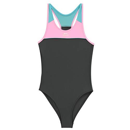 Slazenger Mädchen Badeanzug 122/128, S Charcoal/Pink/Blue 7-8 Jahre