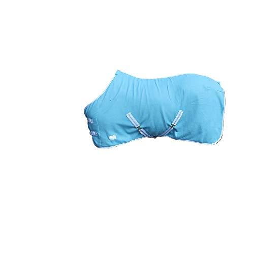 netproshop Pferde Zubehör Basic Abschwitzdecke mit Kreuzbegurtung Fleece Qualität, Groesse:125, Farbe:Hellblau