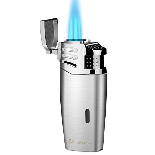 Larruping Encendedor de cigarros, Encendedor de antorcha, Encendedor de Gas butano,Encendedor de Llama Triple,Encendedor de Turbo Recargable de butano con Gas(sin Gas)