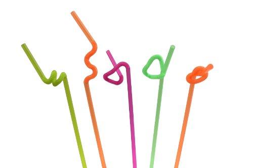IMS Party 300077 Trinkhalme, 275 x 6 mm, 50 Stück, 50 g/Beutel, extra großer Flex-Bereich, gemischte Farben, neon Farben, fluoreszierend