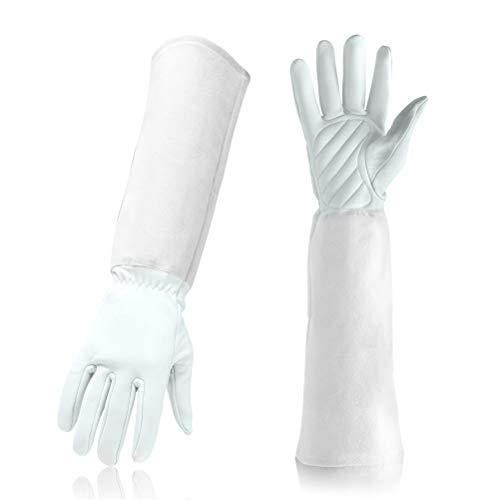 uhe aus Leder Gauntlet Cactus Rose Beschneiden Thorn Proof Protect Handschuhe lang,White,M ()