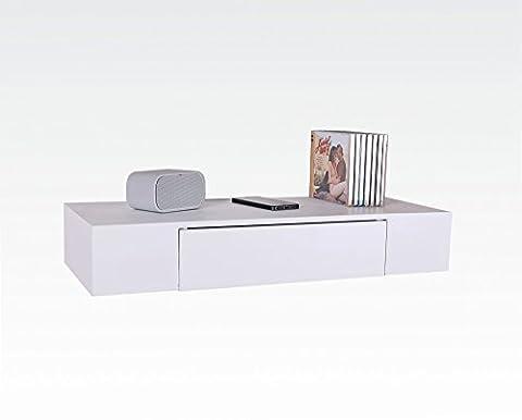 Étagère design 60 x 24 cm blanc étagère murale en bois avec tiroir