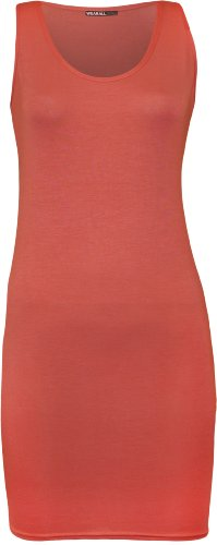 WearAll - Damen Racerback Einfarbig Ärmellos Figurbetontes Mini-Kleid Vest Top - 12 Farben - Größen 36-42 Koralle