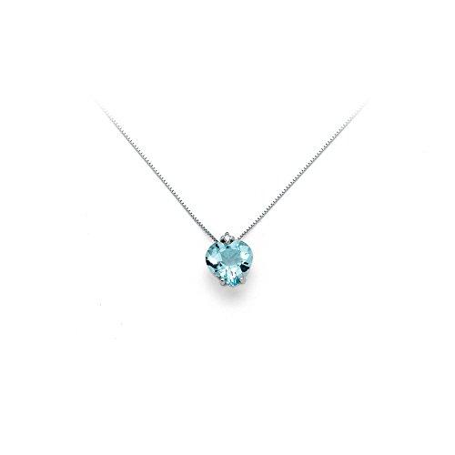 Girocollo Miluna in oro bianco con Topazio azzurro Cuore e diamanti 0.01ct CLD3071X