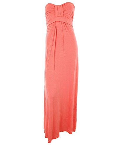 Coral ML 12-14 Kira New Womens Plain Boobtube Bandeau Jersey Gathered Knot Bust Elasticated Back Ladies Maxi Dress