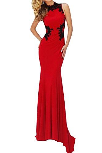ivyd ressing robe haute qualité Motif dentelle col montant Mermaid Prom Party robe robe du soir Rouge - Rouge