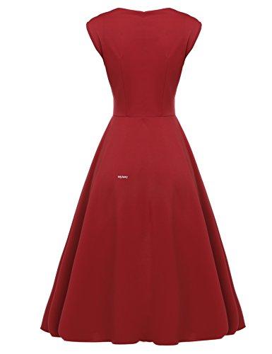 MEXI Damen reizvolles Sleeveless Kleid passendes Partei Kleid gefaltetes Schwingen Midi Dress M-XXL Rot