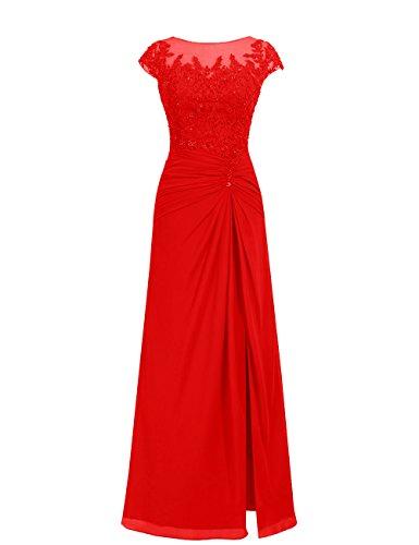 Dresstells, robe de soirée mousseline, robe de cérémonie, robe longueur ras du sol de demoiselle d'honneur Rouge