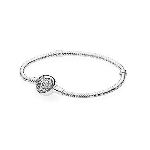 Bracciale in argento con chiusura sferica e pavè di zirconia cubica cm 19