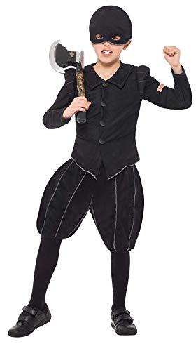 Henker Tudor Kostüm Kinder - Horrible Histories Kollektion Tudor-Henker Kostüm Schwarz mit Jacke kurzer H, Medium