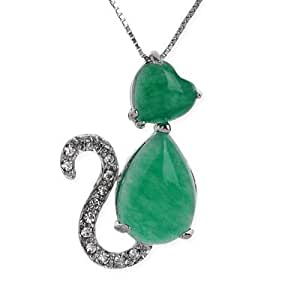 LovingtheBead © Malaysian Jade Cat Pendant 34x21x8mm on a Silver Plated chain 16""