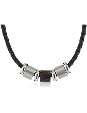 Zeeme Stainless Steel Unisex-Kette mit Anhänger Edelstahl geflochtenes Leder schwarz Ringe Holz/Stahl Länge 45cm...