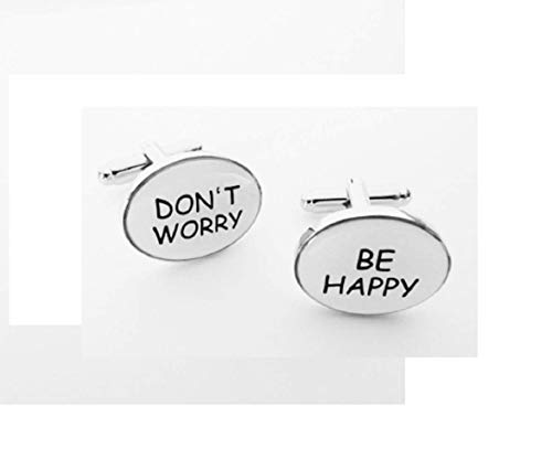 TZG Cufflinks MIGNON Do not Worry Be Happy Boutons de manchette Boutons de manchette En Presentable boîte-cadeau