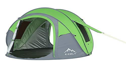 EZOLY Freien 3-4 Personen Automatische Familie Campingzelt 4 Season Dome Strandzelt Wasserdicht 3000mm UV Schutz Tragbare Leichte Sun Shelter, Gras Grün