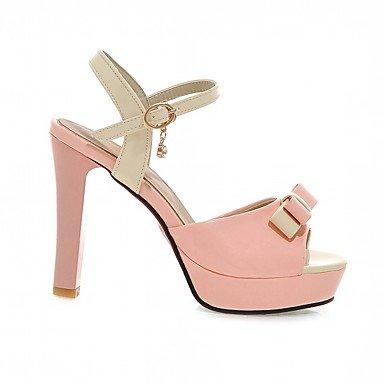LvYuan Da donna Sandali Finta pelle PU (Poliuretano) Estate Autunno Footing Fiocco Quadrato Bianco Nero Beige Rosa 10 - 12 cm blushing pink