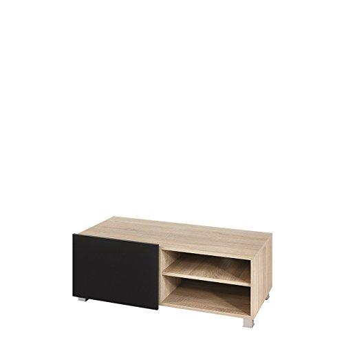 Mirjan24  TV Board Lowboard Gordia G 1D, Fernsehschrank Fernsehtisch, 100x38x43 cm, TV-Tisch, TV Schrank, TV Bank, TV Möbel (Sonoma/Sonoma + Schwarz Hochglanz)